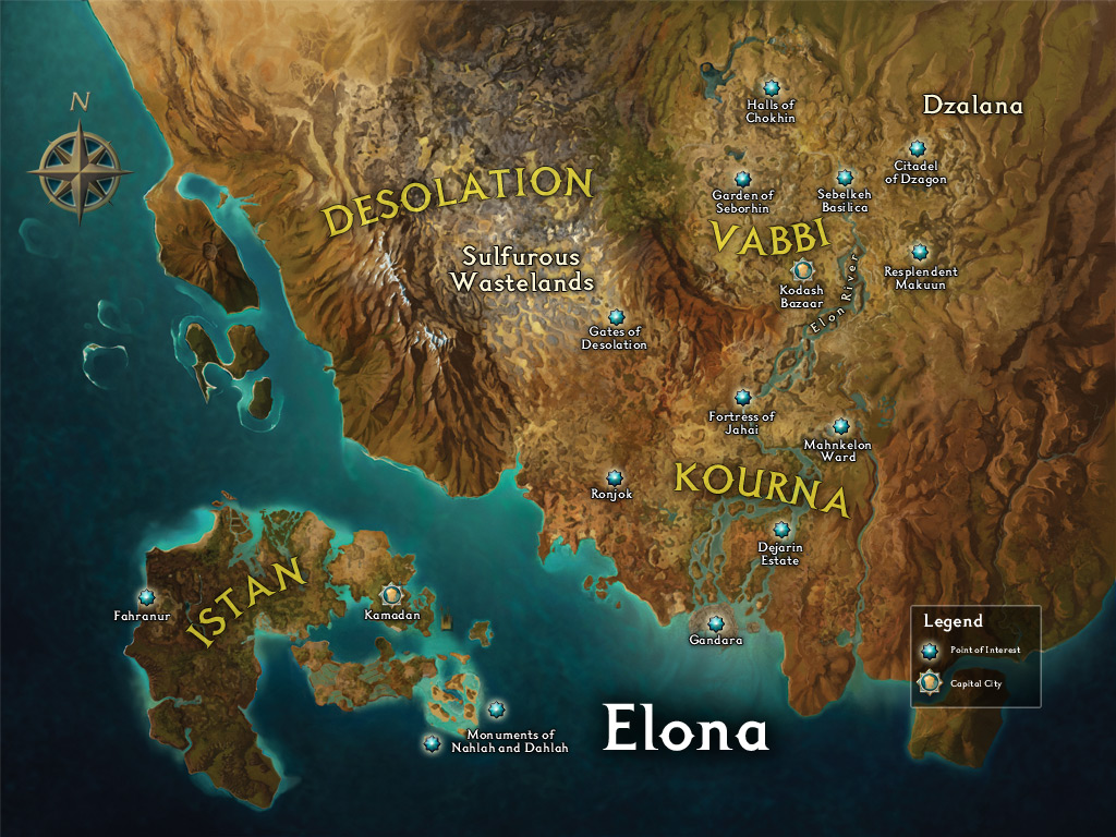 Guild Wars 1 World Map.The Crystal Desert And Elona A Historical And Geographical Overview
